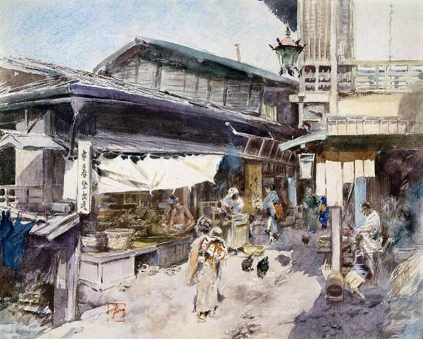 Wall Art - Drawing - Top Quality Art - Street Scene In Ikao by Robert Frederick Blum