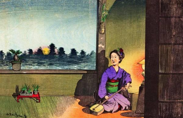 Japanese Shrine Painting - Top Quality Art - Summer Moon At Imado by Kobayashi Kiyochika