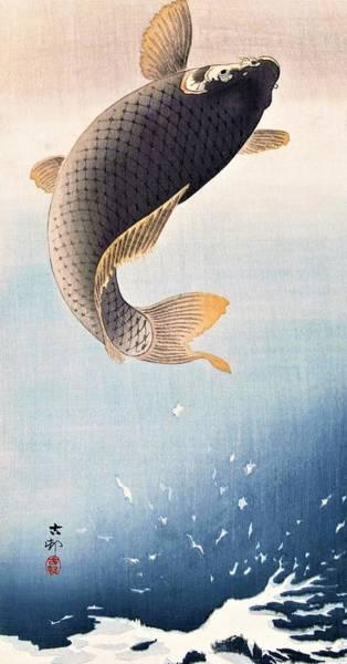 Wall Art - Painting - Top Quality Art - The Carp by Ohara Koson