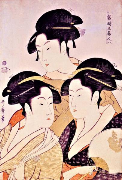 Kimono Painting - Top Quality Art - Three Beautiful Women, Kansei by Kitagawa Utamaro