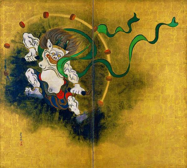 Felicitous Wall Art - Digital Art - Top Quality Art - Wind God And Thunder God - Thunder God by Ogata Korin