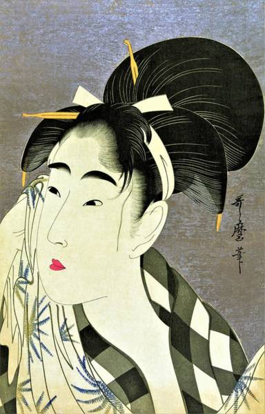 Kimono Painting - Top Quality Art - Woman Wiping Sweat by Kitagawa Utamaro