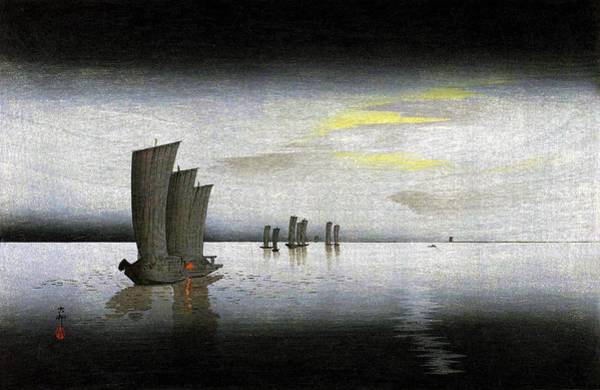 Wall Art - Painting - Top Quality Art - Yacht by Ohara Koson