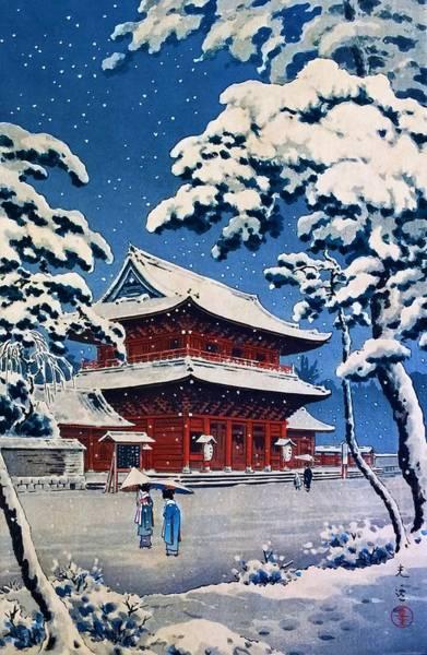 Japanese Shrine Painting - Top Quality Art - Zojoji Snow by Tsuchiya Koitsu