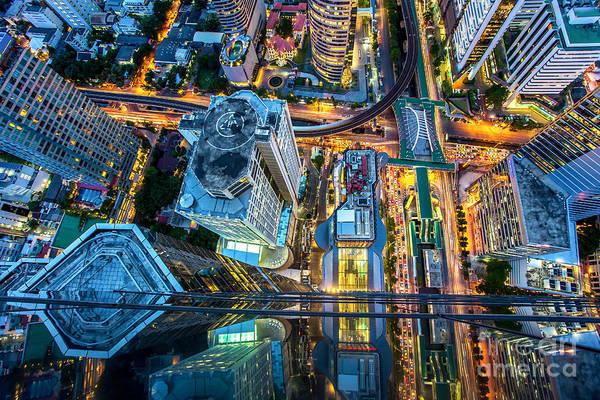 Night View Wall Art - Photograph - Top View Of Bangkok , Thailand by Thanapol Tontinikorn