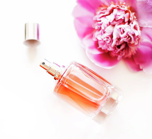 Photograph - Top View Of Luxury Perfume Bottle And Pink Peony Flower On White by Jelena Jovanovic