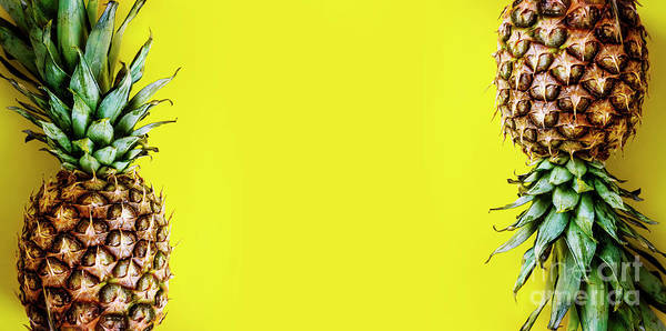 Photograph - Top View Of Pineapple Border On Bright Yellow Background. Vivid  by Jelena Jovanovic