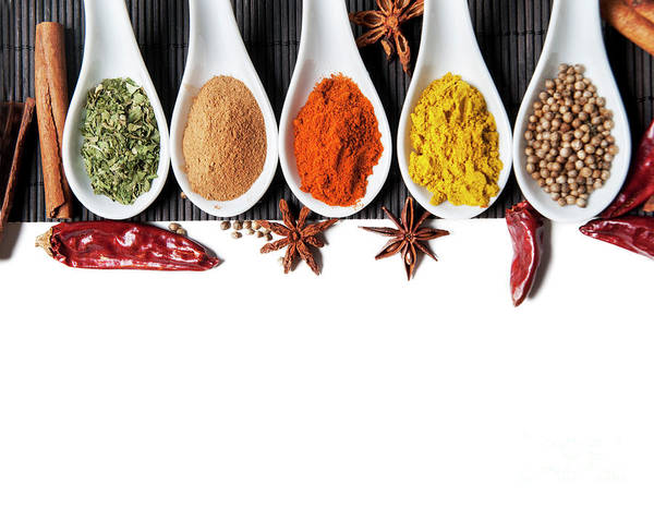 Wall Art - Photograph - Top View On Mixed Dry Colorful Spices Isolated On White Backgrou by Jelena Jovanovic