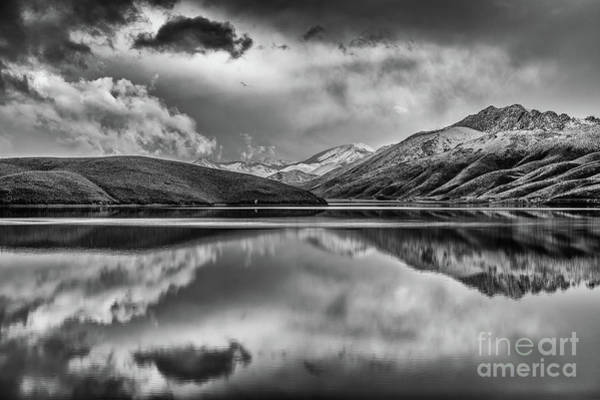 Sullivan County Photograph - Topaz Lake Winter Reflection, Black And White by Jeff Sullivan