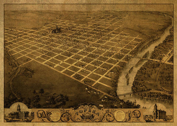 Topeka Wall Art - Mixed Media - Topeka Kansas Vintage City Street Map 1869 by Design Turnpike
