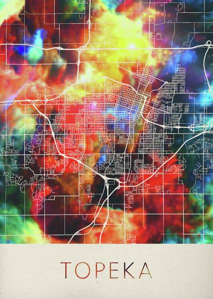 Topeka Wall Art - Mixed Media - Topeka Kansas Watercolor City Street Map by Design Turnpike