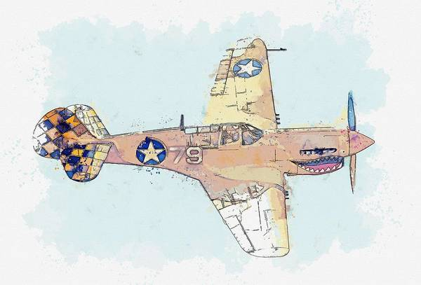 Painting - Topside Of The Desert Warhawk Aircraft Watercolor By Ahmet Asar by Ahmet Asar