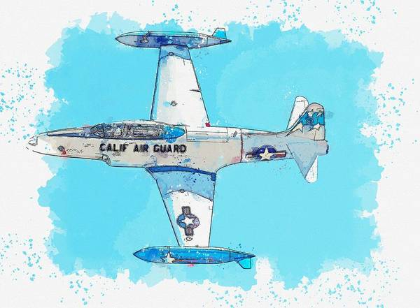 Wall Art - Painting - Topside Pass Of The T-33 Watercolor By Ahmet Asar by Celestial Images