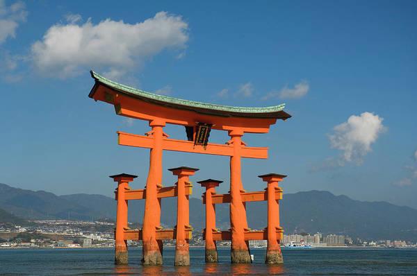 Bleached Photograph - Torii Gate, Hiroshima Bay, Miyajima by Radius Images