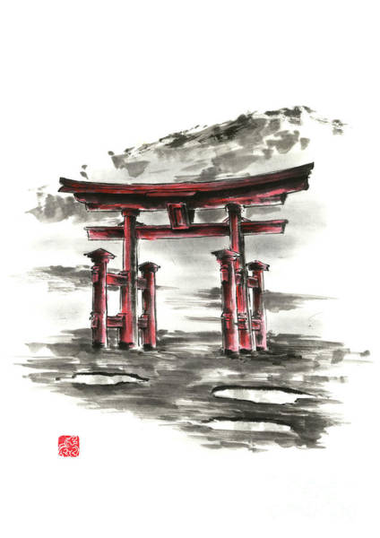 Wall Art - Painting - Torii Gate Painting Japanese Home Decor Japan Art Gift Idea by Mariusz Szmerdt