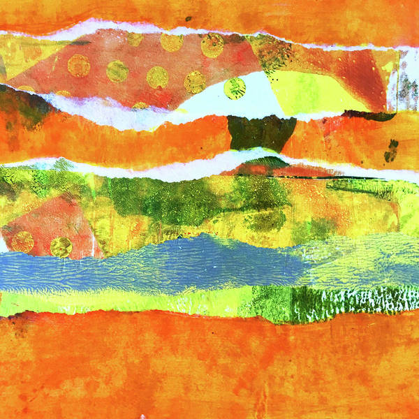Art Paper Mixed Media - Torn Landscape 1 -- Abstract Art by Nancy Merkle