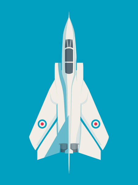 Aircraft Digital Art - Tornado Swing Wing Jet - Cyan by Ivan Krpan