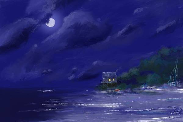 Sea Land Painting - Tropical Moonlight by Paul Tagliamonte