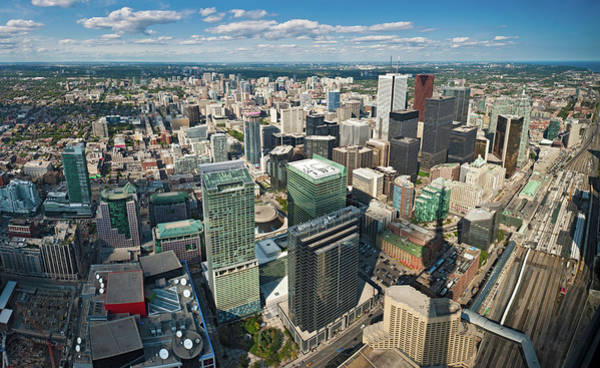 Wall Art - Photograph - Toronto Aerial View Over Downtown by Fotovoyager