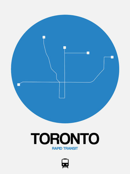 Wall Art - Digital Art - Toronto Blue Subway Map by Naxart Studio