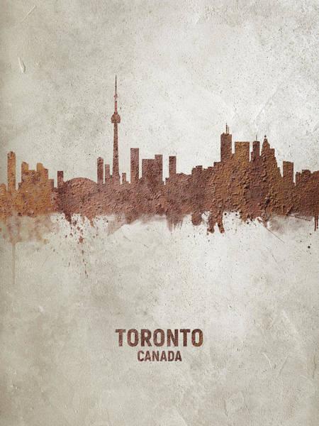 Toronto Wall Art - Digital Art - Toronto Canada Rust Skyline by Michael Tompsett