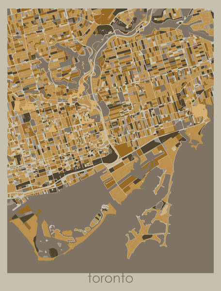 Wall Art - Digital Art - Toronto Map Retro 4 by Bekim M