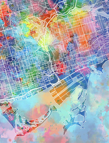 Wall Art - Digital Art - Toronto Map Watercolor by Bekim M