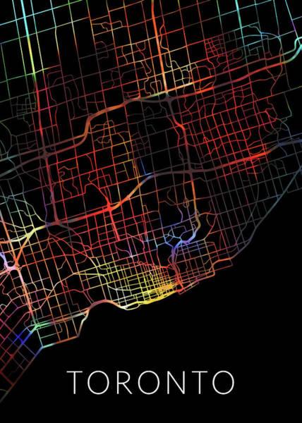 Wall Art - Mixed Media - Toronto Ontario Canada Watercolor City Street Map Dark Mode by Design Turnpike
