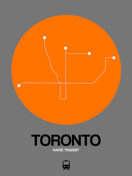 Wall Art - Digital Art - Toronto Orange Subway Map by Naxart Studio