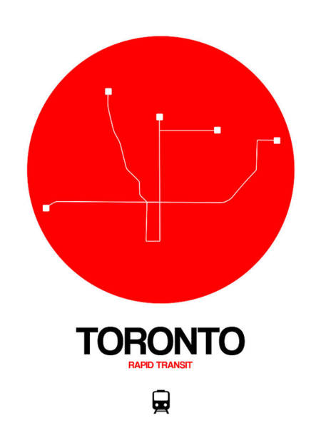 Wall Art - Digital Art - Toronto Red Subway Map by Naxart Studio