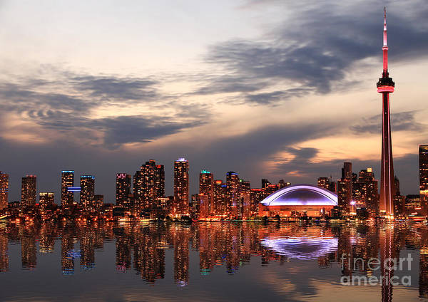 Wall Art - Photograph - Toronto Skyline At Sunset, Ontario by Inga Locmele