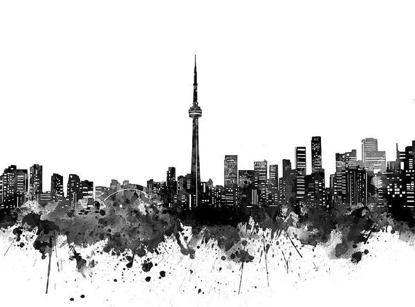 Wall Art - Digital Art - Toronto Skyline Bw by Bekim M