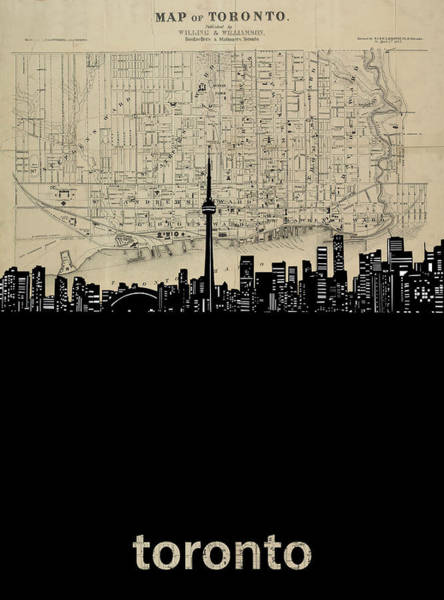 Wall Art - Digital Art - Toronto Skyline Map by Bekim M