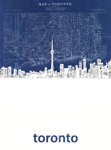 Wall Art - Digital Art - Toronto Skyline Map Blue by Bekim M