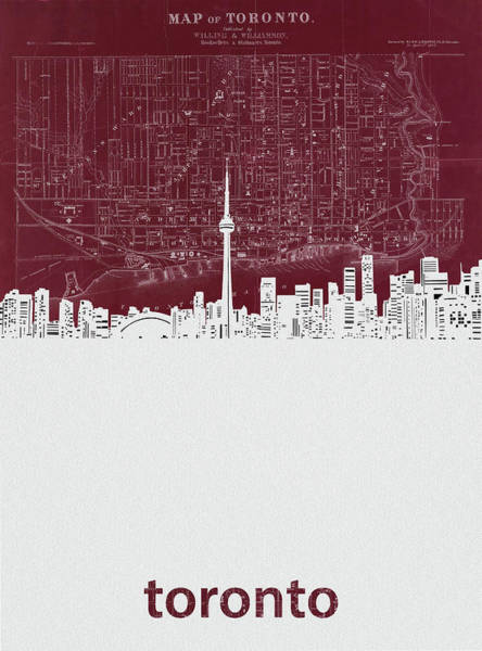 Wall Art - Digital Art - Toronto Skyline Map Red by Bekim M