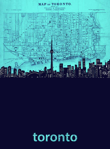 Wall Art - Digital Art - Toronto Skyline Map Turquoise by Bekim M