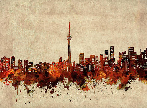 Wall Art - Digital Art - Toronto Skyline Sepia by Bekim M