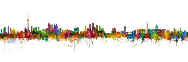 Wall Art - Digital Art - Toronto, Tampa And Washington Dc Skylines Mashup by Michael Tompsett