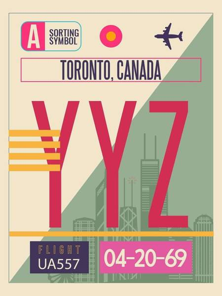 Wall Art - Painting - Toronto Yyz  - Vintage Airport Luggagetag Poster by Celestial Images