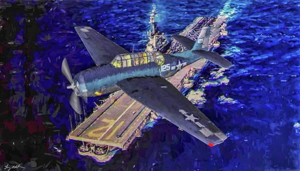 Uss Hornet Digital Art - Torpedo Squadron Seventeen - Oil by Tommy Anderson