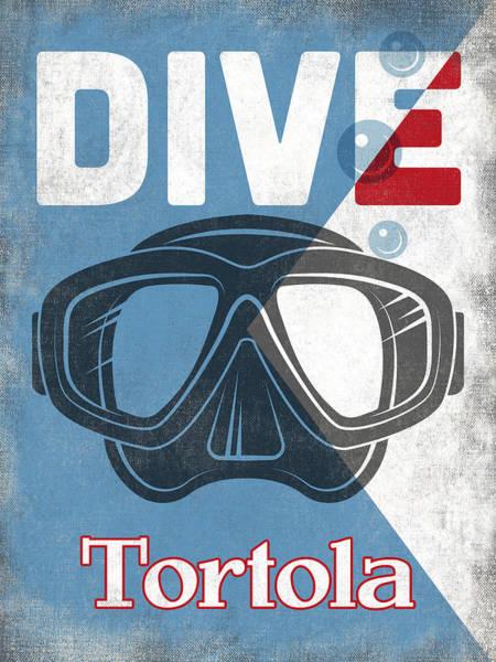 Virgin Digital Art - Tortola Vintage Scuba Diving Mask by Flo Karp