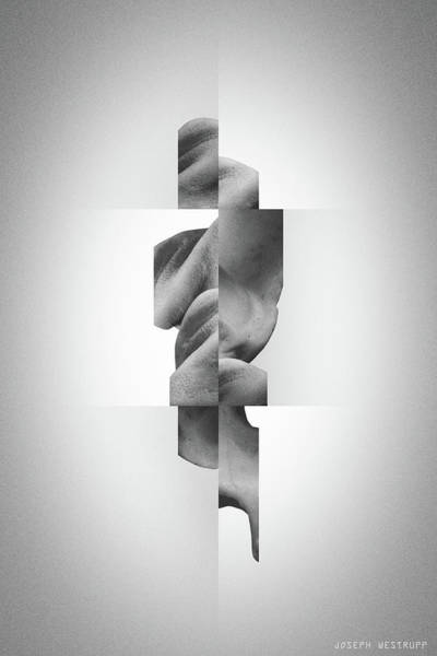 Photograph - Totem Black - Fractured Surreal Abstract Seashell Collage by Joseph Westrupp