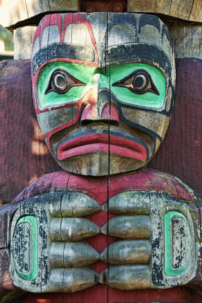 Photograph - Totem Pole Detail - Thunderbird Park by Peggy Collins