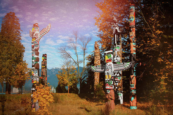 Totem Pole Wall Art - Photograph - Totem Poles Stanley Park Vancouver Canada  by Carol Japp