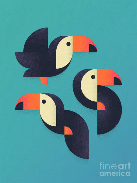 Tropical Bird Wall Art - Digital Art - Toucan Geometric - Group by Ivan Krpan