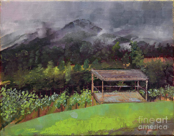Painting - Touch The Clouds - At Ott Farms And Vineyard by Jan Dappen