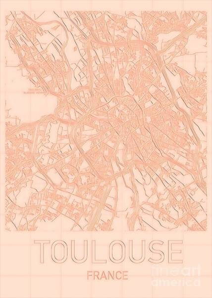 Digital Art - Toulouse Blueprint City Map by Helge