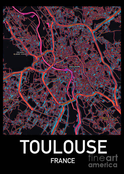 Digital Art - Toulouse City Map by Helge