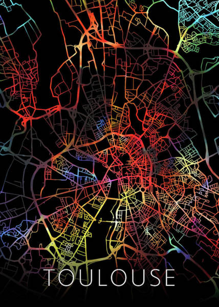 Wall Art - Mixed Media - Toulouse France Watercolor City Street Map Dark Mode by Design Turnpike