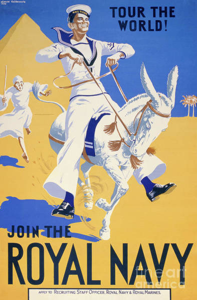 Wall Art - Painting - Tour The World. Join The Royal Navy, Navy Recruitment Poster, 1936 by English School